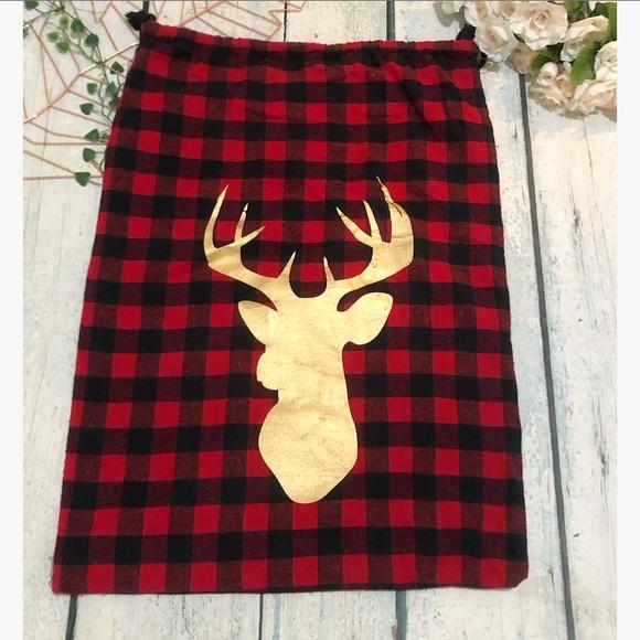 Christmas holiday bag red black plaid gold deer